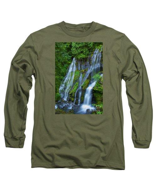 Panther Creek Falls Summer Waterfall 1 Long Sleeve T-Shirt