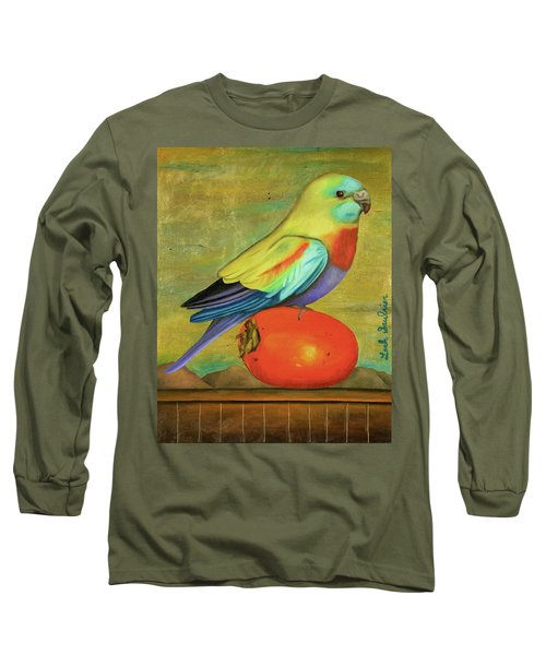 Long Sleeve T-Shirt featuring the painting Parakeet On A Persimmon by Leah Saulnier The Painting Maniac