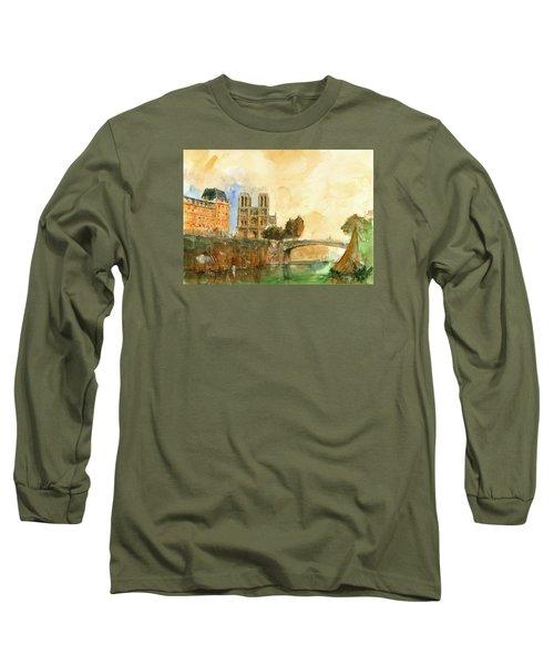 Paris Watercolor Long Sleeve T-Shirt
