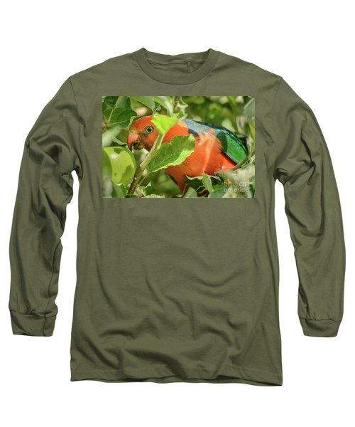 Long Sleeve T-Shirt featuring the photograph  Parrot In Apple Tree by Werner Padarin
