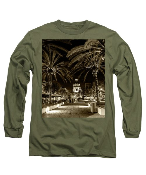 Long Sleeve T-Shirt featuring the photograph Pasadena City Hall After Dark In Sepia Tone by Randall Nyhof