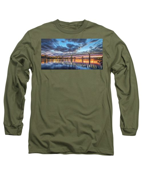 Passing Clouds Above Chattanooga Pano Long Sleeve T-Shirt by Steven Llorca