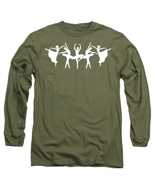 Passionate Dance White Ballerinas Silhouettes Long Sleeve T-Shirt