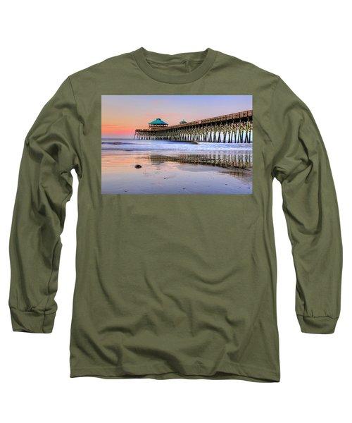 Pastel Sunrise On Folly Beach Pier In Charleston South Carolina Long Sleeve T-Shirt