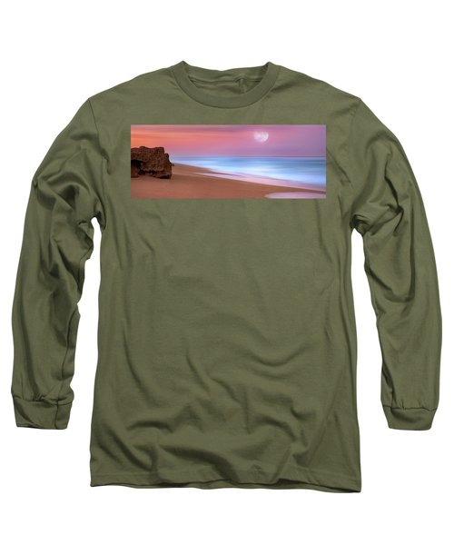Long Sleeve T-Shirt featuring the photograph Pastel Sunset And Moonrise Over Hutchinson Island Beach, Florida. by Justin Kelefas