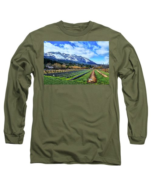 Landscape With Mountains And Farmlands In The Argentine Patagonia Long Sleeve T-Shirt