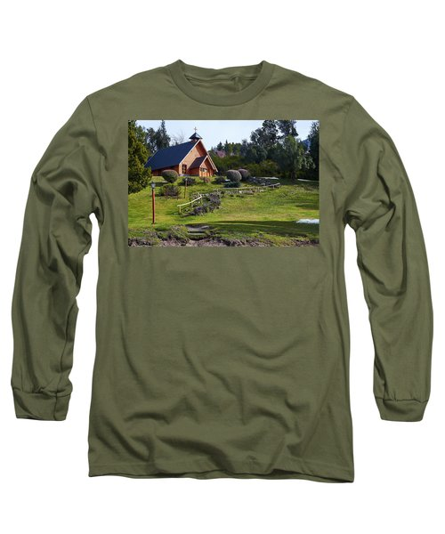 Rustic Church Surrounded By Trees In The Argentine Patagonia Long Sleeve T-Shirt