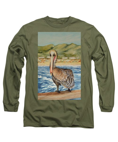 Long Sleeve T-Shirt featuring the painting Paula's Pelican by Katherine Young-Beck