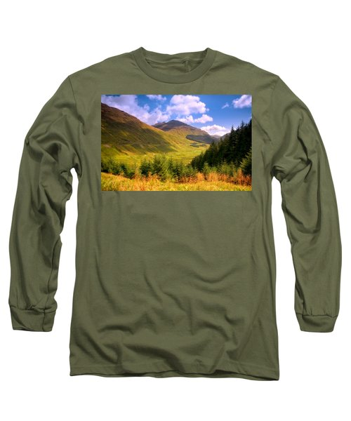 Peaceful Sunny Day In Mountains. Rest And Be Thankful. Scotland Long Sleeve T-Shirt