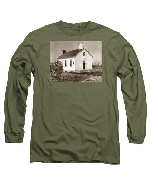Long Sleeve T-Shirt featuring the painting Peach Grove School Sepia by LeAnne Sowa