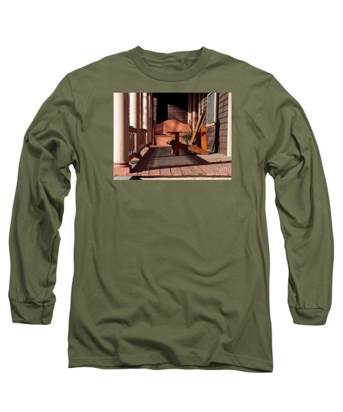 Long Sleeve T-Shirt featuring the photograph Peach Porch by Betsy Zimmerli