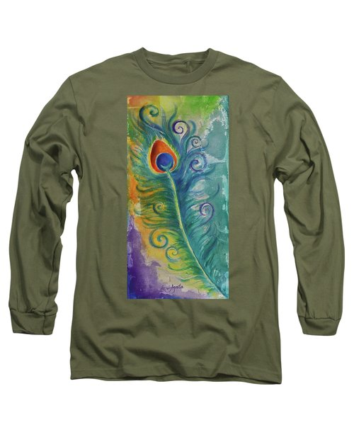 Long Sleeve T-Shirt featuring the painting Peacock Feather Mural by Agata Lindquist