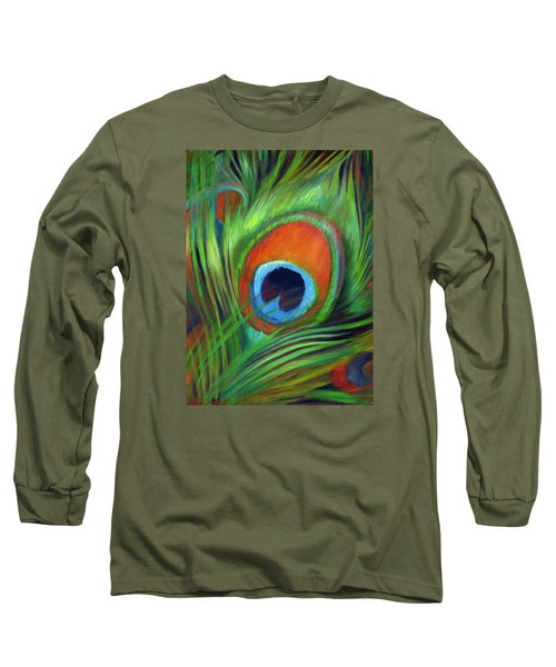 Peacock Feather Long Sleeve T-Shirt by Nancy Tilles