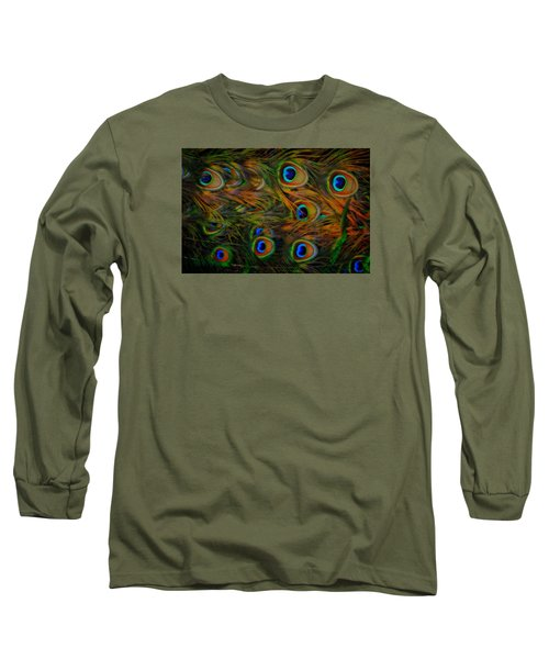 Long Sleeve T-Shirt featuring the photograph Peacock Feathers by Harry Spitz