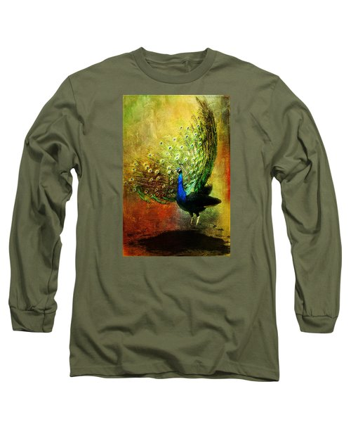 Peacock In Full Color Long Sleeve T-Shirt