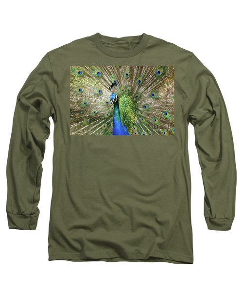 Long Sleeve T-Shirt featuring the photograph Peacock Indian Blue by Sharon Mau