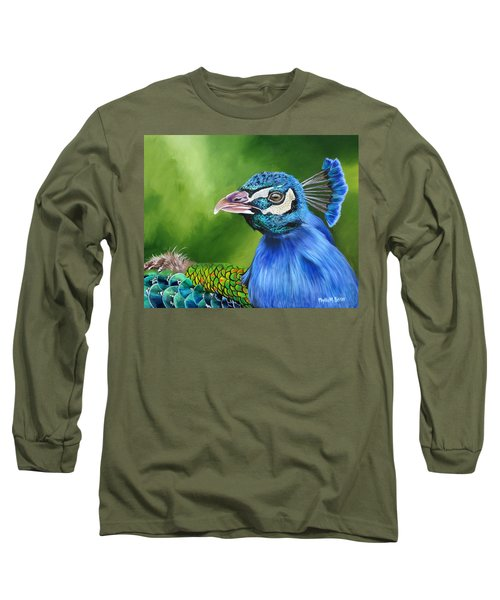 Peacock Profile Long Sleeve T-Shirt by Phyllis Beiser