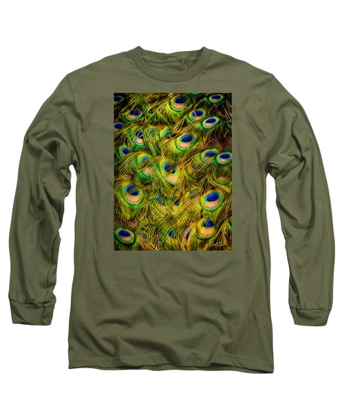 Long Sleeve T-Shirt featuring the photograph Peacock Tails by Rikk Flohr
