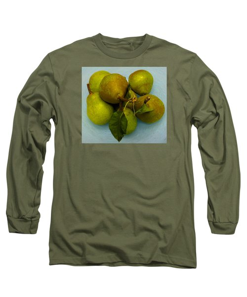 Long Sleeve T-Shirt featuring the photograph Pears In Blue Bowl by Brenda Pressnall