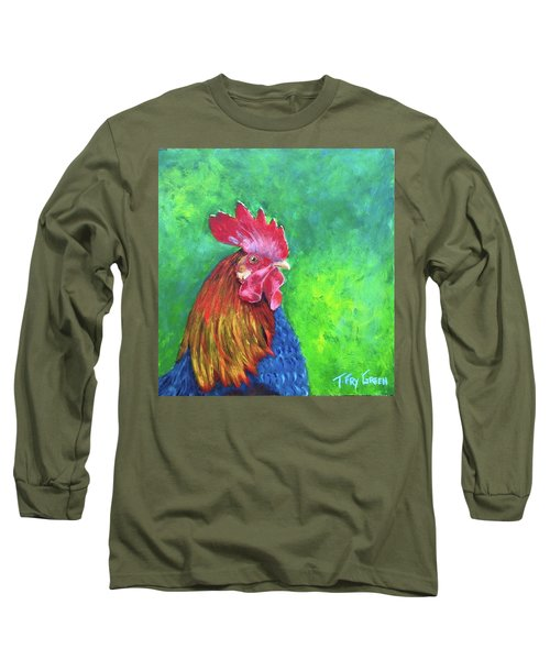 Morning Rooster Long Sleeve T-Shirt by T Fry-Green