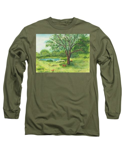 Long Sleeve T-Shirt featuring the painting Pedro's Tree by Vicki  Housel