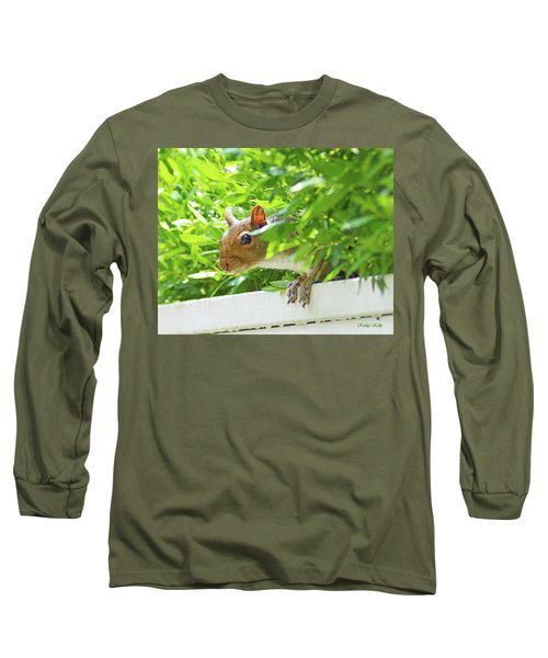Peek-a-boo Gray Squirrel Long Sleeve T-Shirt by Kathy Kelly