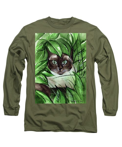 Long Sleeve T-Shirt featuring the painting Peek A Boo Siamese Cat by Dora Hathazi Mendes