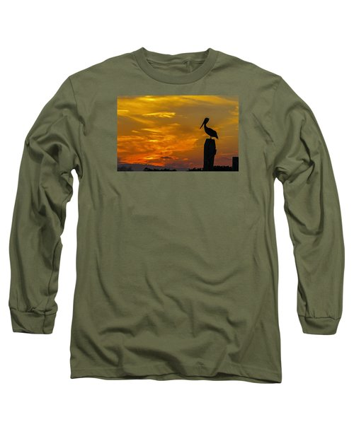 Pelican At Silver Lake Sunset Ocracoke Island Long Sleeve T-Shirt by Greg Reed