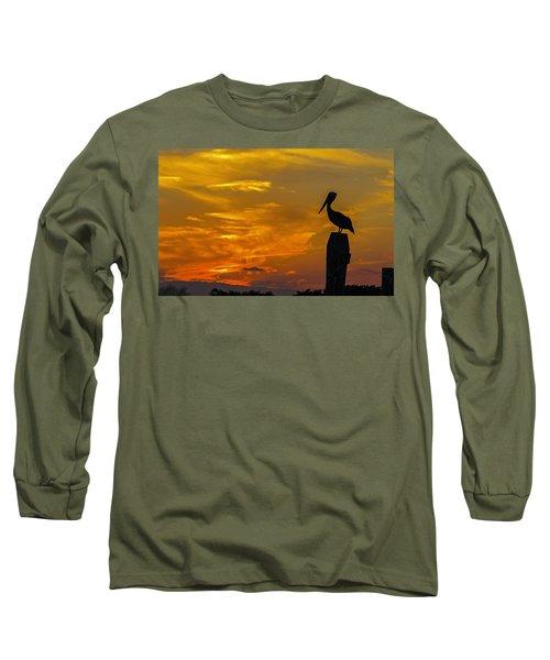 Pelican At Silver Lake Sunset Ocracoke Island Long Sleeve T-Shirt