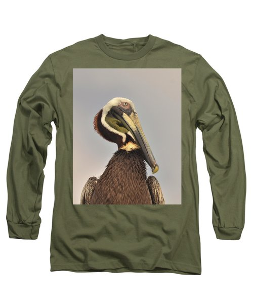 Pelican Portrait Long Sleeve T-Shirt by Nancy Landry
