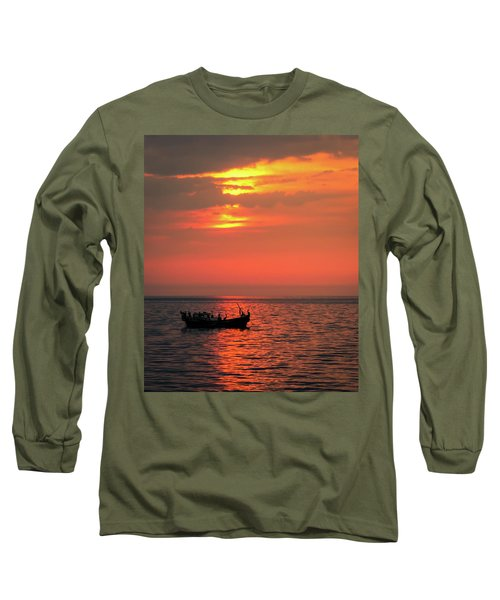 Pelicans At Sunset Long Sleeve T-Shirt
