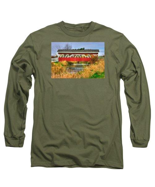 Pennsylvania Country Roads - Oregon Dairy Covered Bridge Over Shirks Run - Lancaster County Long Sleeve T-Shirt by Michael Mazaika