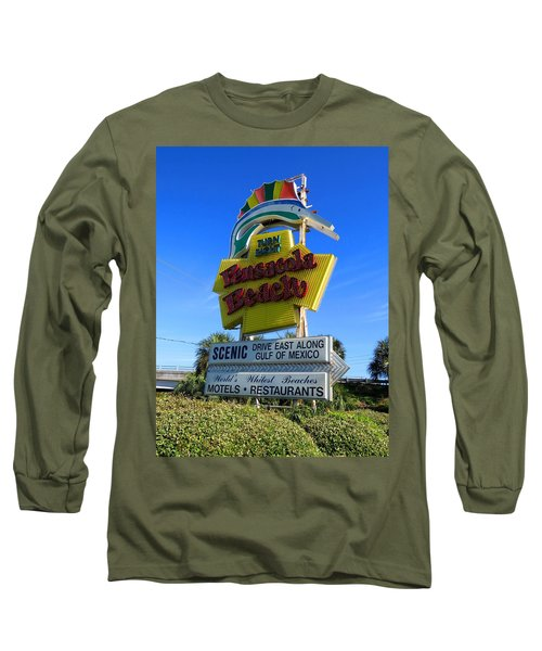 Pensacola Beach Sign Long Sleeve T-Shirt by Keith Stokes