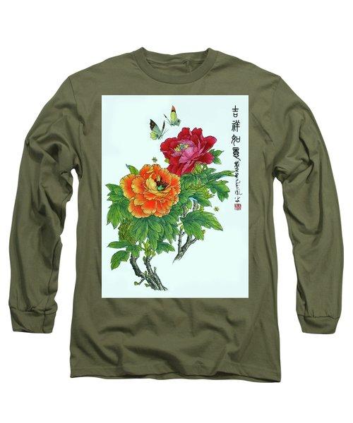 Peonies And Butterflies Long Sleeve T-Shirt by Yufeng Wang