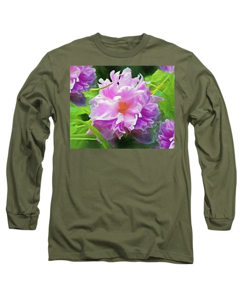 Long Sleeve T-Shirt featuring the mixed media Peony Cluster 7 by Lynda Lehmann