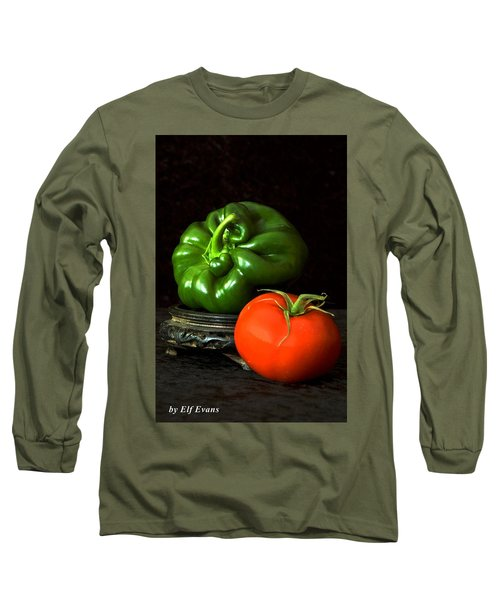 Pepper And Tomato Long Sleeve T-Shirt by Elf Evans