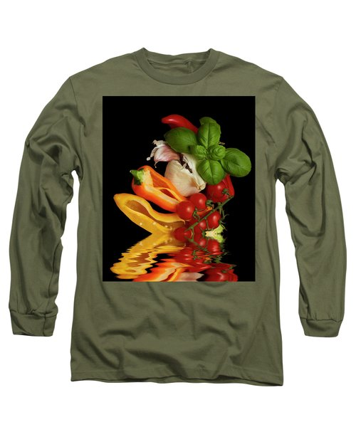 Long Sleeve T-Shirt featuring the photograph Peppers Basil Tomatoes Garlic by David French