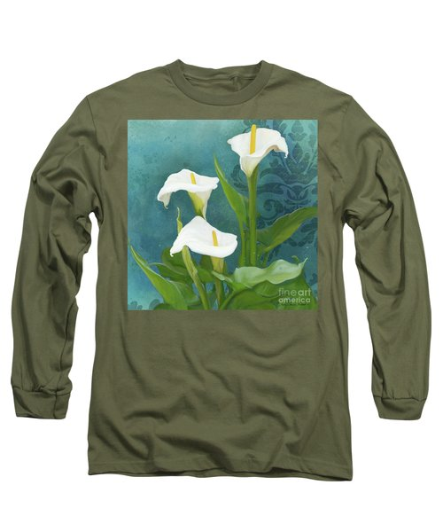 Long Sleeve T-Shirt featuring the painting Perfection - Calla Lily Trio by Audrey Jeanne Roberts