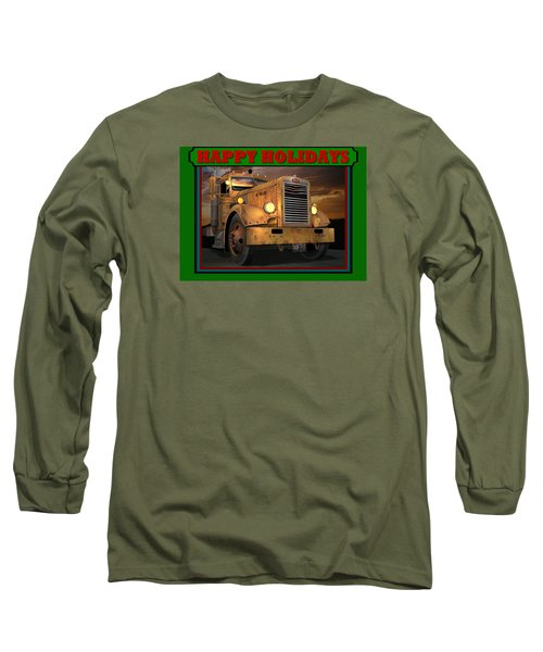 Pete Ol' Yeller Happy Holidays Long Sleeve T-Shirt by Stuart Swartz