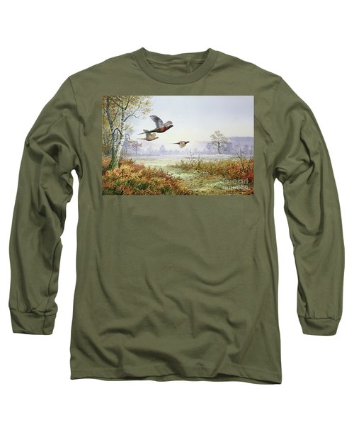 Pheasants In Flight  Long Sleeve T-Shirt by Carl Donner