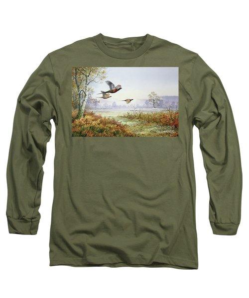 Pheasants In Flight  Long Sleeve T-Shirt