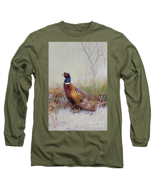 Pheasants In The Snow Long Sleeve T-Shirt by Archibald Thorburn