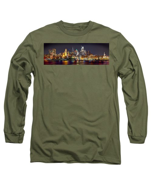 Philadelphia Philly Skyline At Night From East Color Long Sleeve T-Shirt