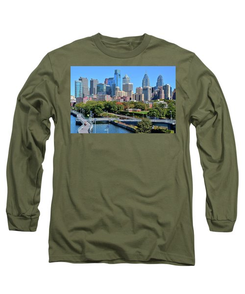 Long Sleeve T-Shirt featuring the photograph Philly With Walking Trail by Frozen in Time Fine Art Photography