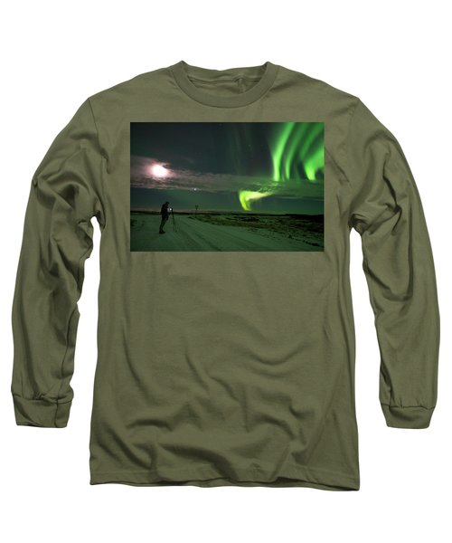 Long Sleeve T-Shirt featuring the photograph Photographer Under The Northern Light by Dubi Roman
