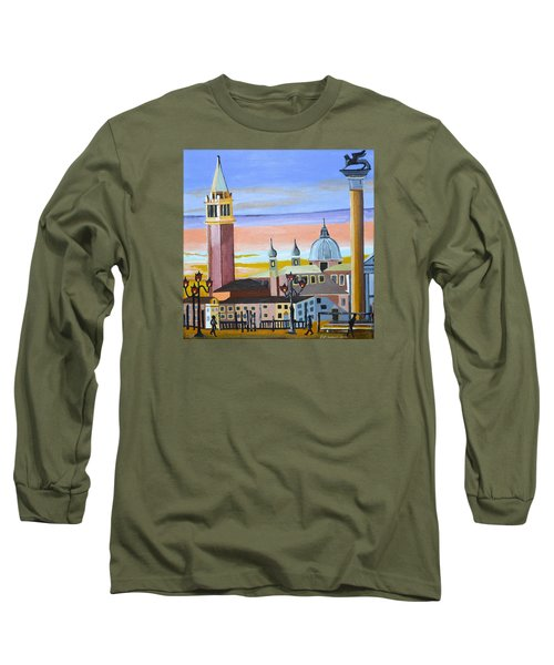Long Sleeve T-Shirt featuring the painting Piazza San Marco by Donna Blossom