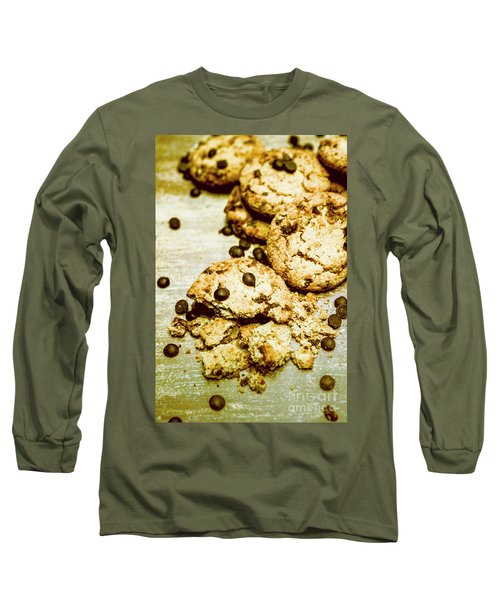 Pile Of Crumbled Chocolate Chip Cookies On Table Long Sleeve T-Shirt