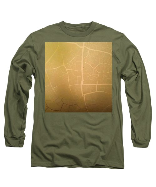 Pillow Pattern Amber Leaf/crackle Long Sleeve T-Shirt by Steed Edwards
