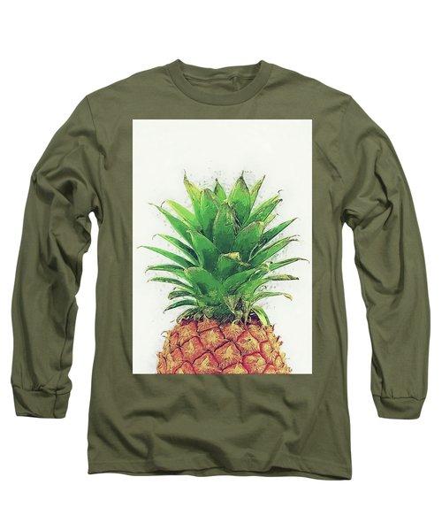 Long Sleeve T-Shirt featuring the digital art Pineapple by Taylan Apukovska