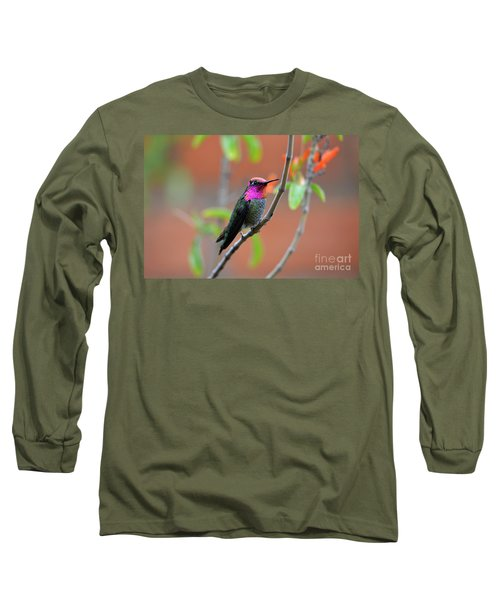Pink And Gold Anna's Hummingbird Long Sleeve T-Shirt